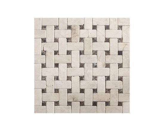 Crema Marfil & Emperador Dark Tumbled Natural Stone Mosaic -