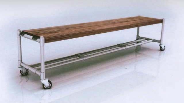 Recycled Pipes And Recycled Teak Wood Bench And Dining