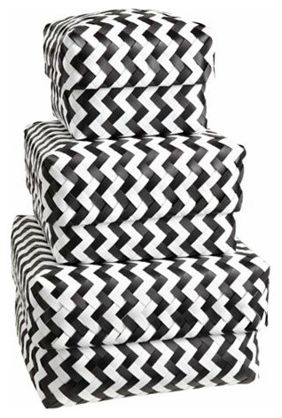 Zig Zag Strapping Baskets, Black modern-storage-bins-and-boxes