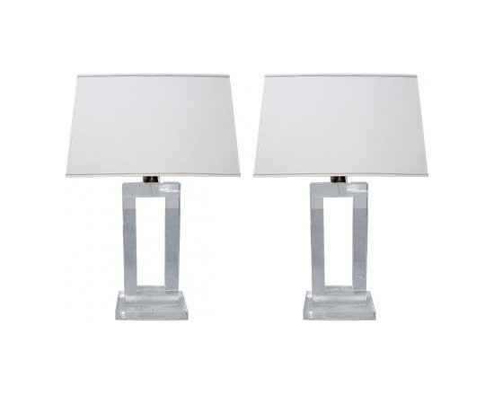 CUSTOMIZED CRYSTAL TABLE LAMPS - Formerly illuminating the bedside tables of a pristine Upper West Side apartment, these crystal lamps are poised with French-inspired flair with translucent bases and decorative cutouts. In good condition, their Restoration Hardware bases are customized with handcrafted white lampshades and silk-wrapped cords for a fresh, upscale look.