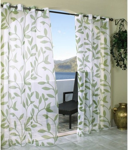 Outdoor Decor Escape Leaf Grommet Outdoor Curtain Panel ...