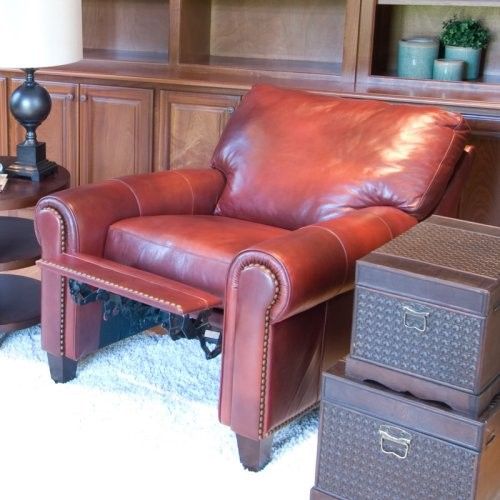The Garret 2-Piece Set Top Grain Leather Reclining Chairs in Sienna blends a cla traditional armchairs