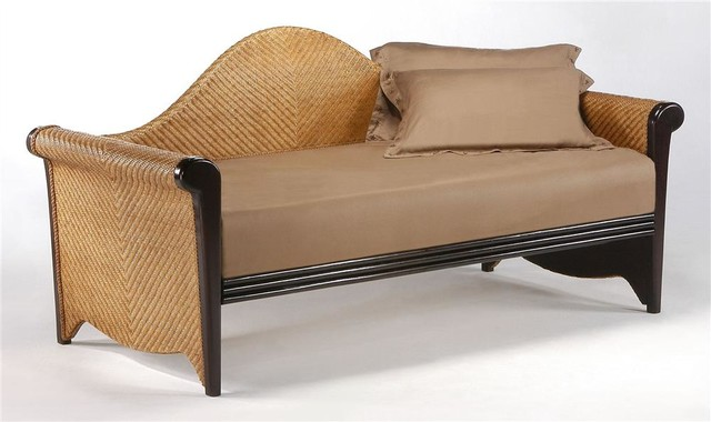 Twin daybed in wood rattan tropical indoor chaise for Chaise or daybed