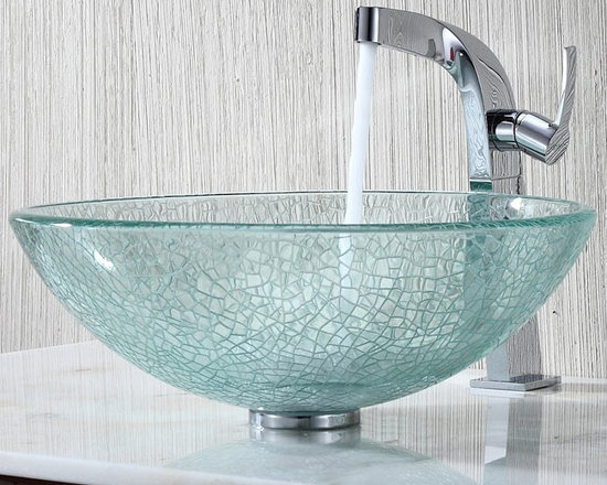 "Kraus C-GV-500-12mm-15100CH Broken Glass Vessel Sink and Typhon Faucet - APPLY COUPON CODE ""EDHOUZ30"" AT CHECKOUT. JUST OUR WAY OF SAYING THANKS."