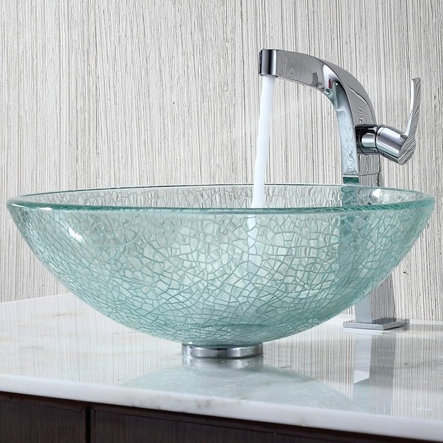 Kraus C-GV-500-12mm-15100CH Broken Glass Vessel Sink and Typhon ...