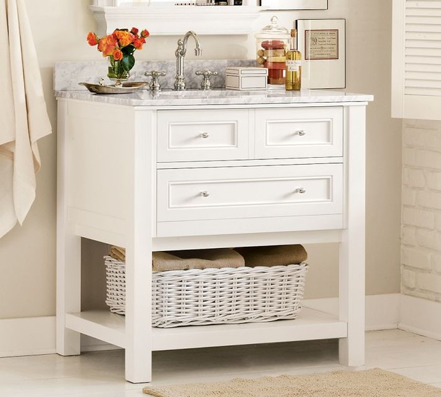 Classic Single Sink Console, White - traditional - bathroom