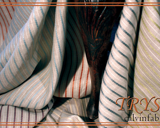 Calvin Fabrics' Tryst - Tryst (11460-11468) - One of the American woven Liaison Collection's premium linens, Tryst adds a twist with a braided surface detail that projects an illusion of ticking. Upon close inspection, the substantial stripes offer exquisite texture and visual relief while a thinner parallel white stripe punctuates the flaxen ground between each braid accenting the subtle beauty of the raised details. The characteristically soft hand and smooth finish afforded to premium linens are preserved in this distinct item suitable for a multitude of residential applications. Available in 9 colorways: Alabaster, Froth, Linen, Butter, Aloe, Robin's Egg, Plum, Henna and Cinder