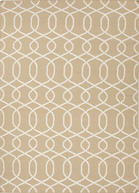 Flat weave geometric pattern wool taupe ivory area rug for Geometric print area rugs