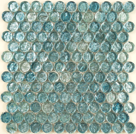 Sea Mist Circles Blue Backsplash Glossy Glass - Contemporary - Tile