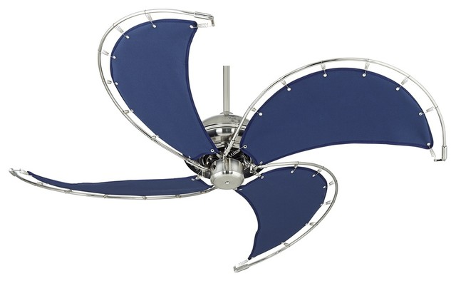 52 Aerial Brushed Nickel Blue Canvas Blade Ceiling Fan Beach Style Ceiling Fans