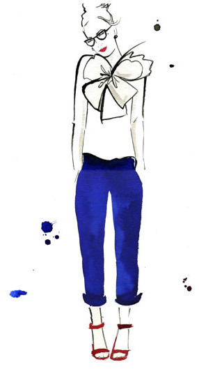 Watercolor Fashion Illustration Nerdy Chic By JessicaIllustration contemporary-artwork