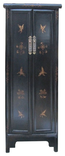 Chinese Black Golden Butterflies Tall Narrow Cabinet - Asian - China Cabinets And Hutches - by ...