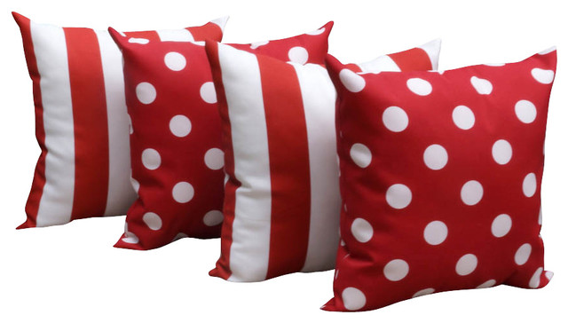 Polka Dot Red and Stripe Rojo Red and White Outdoor Throw Pillows - Set of 4 contemporary-outdoor-pillows