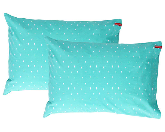 SWENYO - Teal and White Triangle Pillow Case Set - Same is lame. Our unique pillowcases will add color and personality to any space. Hand-selected by our team of designers, this contrasting pillowcase set has vibrant colors and an incredibly soft feel finished with our signature red SWENYO tag.