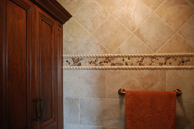 Mosaic Tile Trim contemporary-bathroom