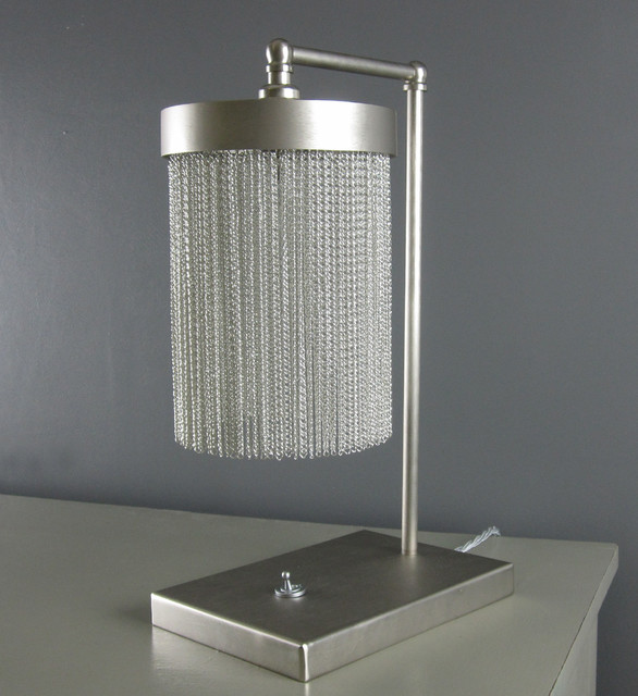 Silver Chain/ Flat Nickel Table Lamp contemporary-table-lamps