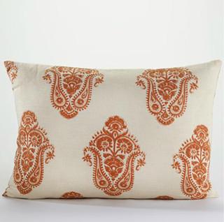 Burnt Orange Block Print Lumbar Pillow Mediterranean