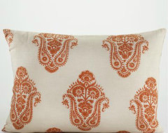 Burnt Orange Block Print Lumbar Pillow mediterranean pillows