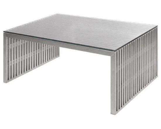 Amici Coffee Table - Amici Coffee Table is surely a structure of modern simplicity. The Amici is a utility table for indoor or outdoor use. Amici Coffee is made in stainless steel to a brushed finish. The stainless steel slats are separated by acrylic spacers.. A 3⁄8 inch tempered clear glass top is included. Dimensions: 35½ x 24 x 15½ (inches).