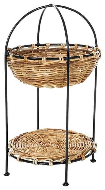 2 tier round rattan basket display stand in n for Wicker stands bathrooms