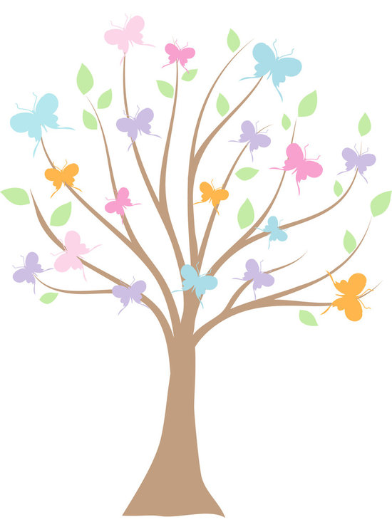 Bebe Diva - Butterfly Tree Wall Decal - The beautiful and delicate colors of the Butterfly Wall Decal tree would be a perfect touch to any child's room or nursery!