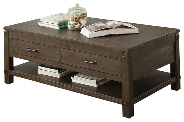 Riverside Furniture Promenade Rectangular Cocktail Table in Warm Cocoa transitional-coffee-tables