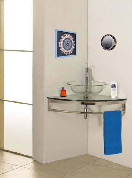 Wall Mount Corner Glass Vanity Modern Bathroom