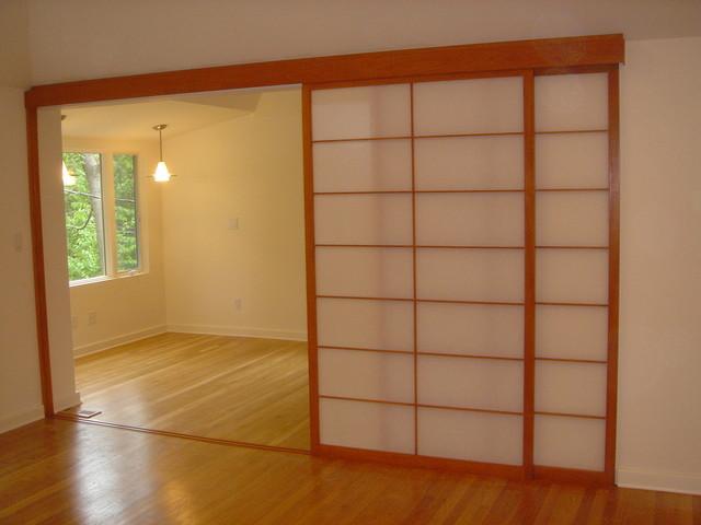 Shoji Screens for Patio Door with Sliding Track