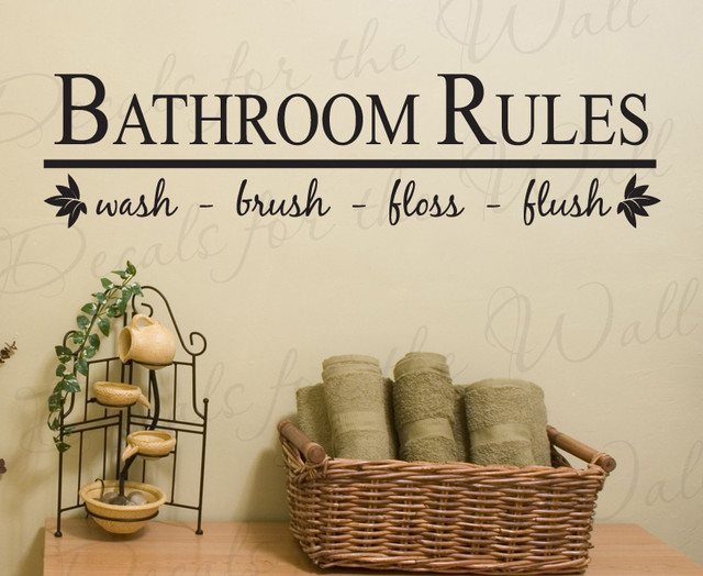 Wall decal sticker quote vinyl art bathroom rules wash for Bathroom decor quotes