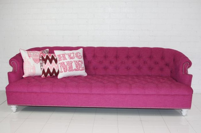 Bel-Air Hot Pink Tufted Sofa contemporary sofas