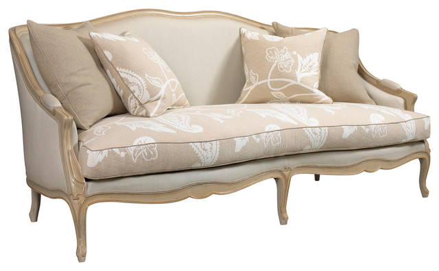 Chambery French Country Beige Ivory Paisley Upholstered Sofa Transitional Sofas By Kathy