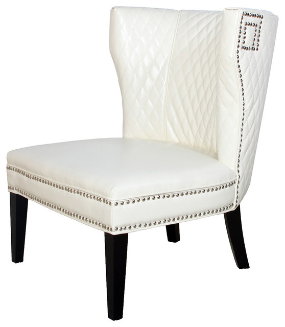 Quilted Ivory White Leather Club Chair - Traditional ...