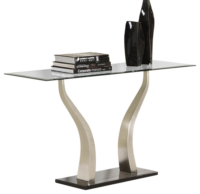 Homelegance Atkins Rectangular Glass Sofa Table in Chrome and Black Metal traditional-console-tables