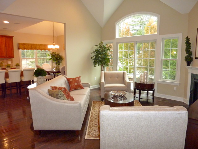 Model home living room living room transitional and mid Model home family room pictures
