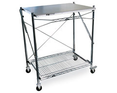 Metro Mobile Folding Table industrial-kitchen-islands-and-kitchen-carts