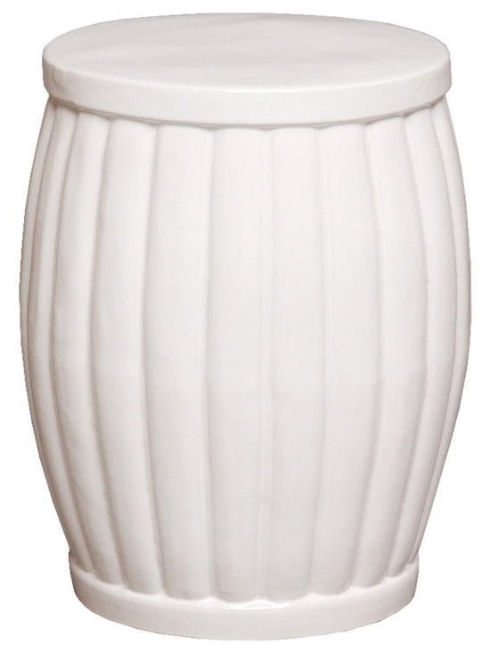 White Fluted Garden Stool - Unlike standard garden stools that feature eastern design characteristics, this stool is decidedly traditional in style with its elegant fluted style and rounded edges. Use this in a living room or patio to create extra seating for your guests while enhancing the overall aesthetic in the room.