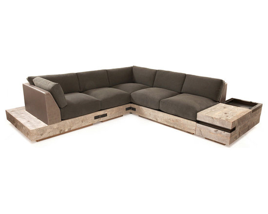 Eco Friendly Furnture and Lighting - The Ceniza sectional sofa is a beautiful combination of textures and finishes. The main body is composed of weathered reclaimed wood from mid-western U.S. barns. The beauty of this natural material can be appreciated in its raw form which includes moss growth in some areas. Inside these drawers is polished gun metal, lining the interior surfaces.