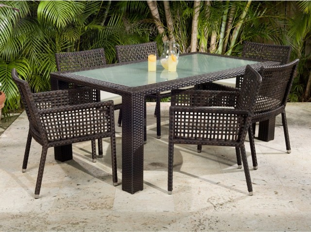 Zen All Weather Wicker Patio Dining Set Seats 6 Modern Dining Tables