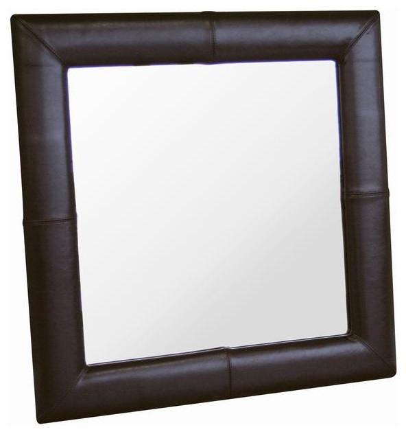 Square Espresso Brown Leather Mirror Contemporary Mirrors