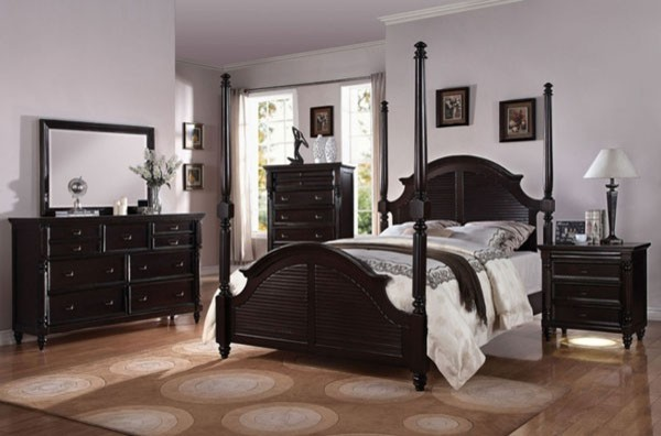 Nib queen bedroom set cherry brown finish transitional - Transitional style bedroom furniture ...