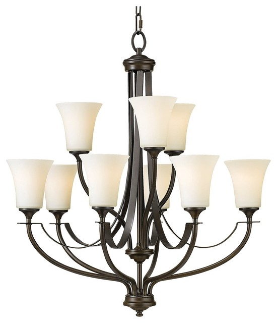 "Traditional Barrington Bronze 29"" Wide 9-Light Chandelier traditional-chandeliers"