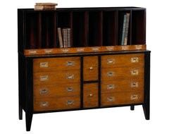 Storage Unit/Bookcase, Black Red and Light Cherry Finish traditional-filing-cabinets-and-carts