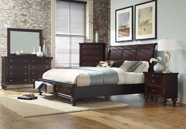 Merlot king size bedroom set with storage transitional for Transitional bedroom furniture