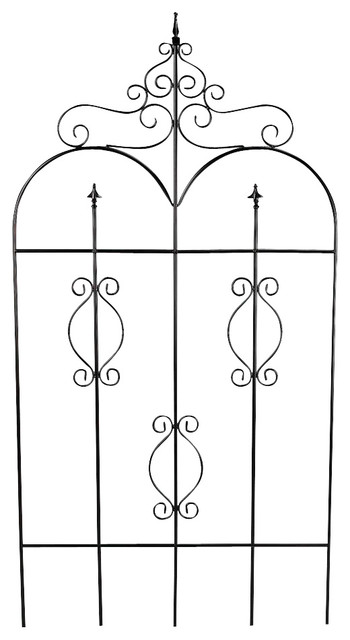 Metal Garden Fence Gate in Black Finish w Fin contemporary-home-fencing-and-gates