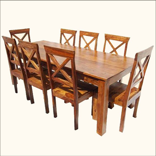 Oklahoma farmhouse contemporary 9pc oak dining table for Oak farmhouse kitchen table and chairs
