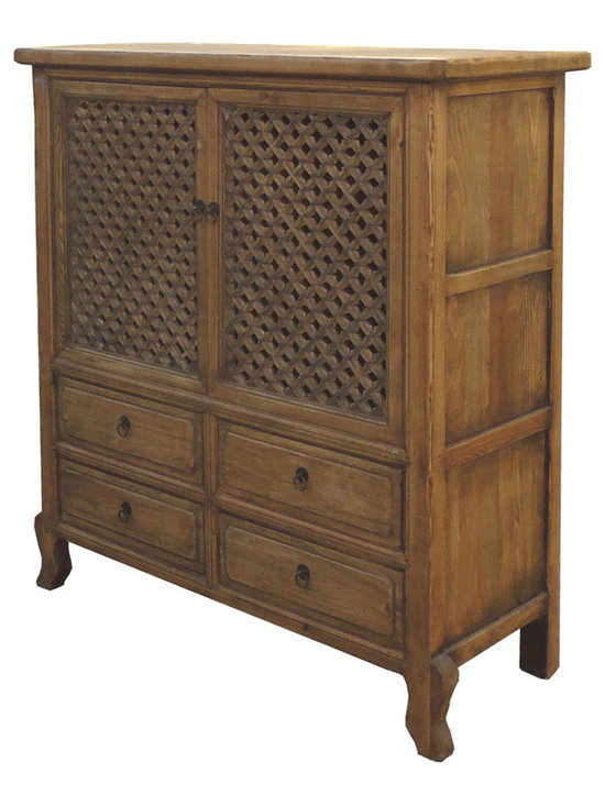 Chinese Antique Natural Wood Four Drawers See Through Carving Cabinet - This is a Chinese antique natural wood cabinet which is made of solid elm wood. Especially, the doors have carving see through design on it.
