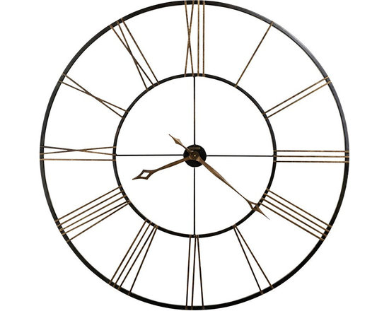 Modern Clocks - This incredible 49 diameter wrought-iron wall clock is finished in aged black with applied antique gold numerals. - The hour and minute hands are finished in antique gold and feature an open fret-cut diamond style. - Clock ships in two easy-to-assemble pieces.