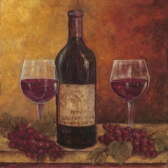 Purple Bowls Wine Bottels Modern Canvas Painting Wall Art
