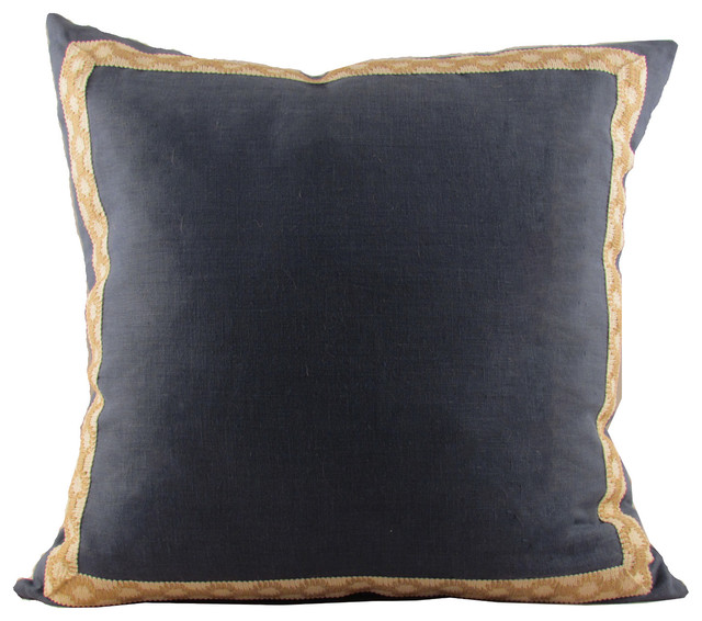 Throw Pillow Trim : Navy Linen with Jute-on-Cotton Hanmpton Trim Throw Pillow - Contemporary - Decorative Pillows ...