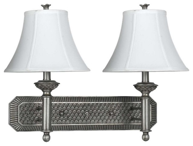 Traditional Antique Silver White Silky Shade Plug-In Double Wall Lamp traditional-wall-lighting